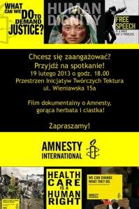 """""""Amnesty! Kiedy wszyscy będą wolni"""" – pokaz filmu + spotkanie"""