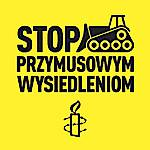 Stop przymusowym wysiedleniom - logo AI